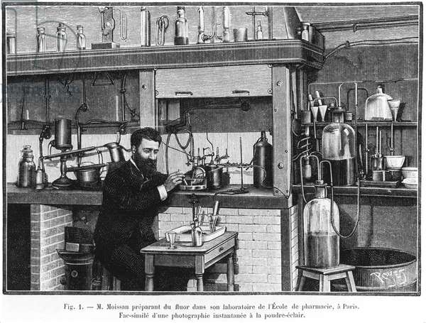 Henri Moissan, French chemist, working in his laboratory, c 1900s