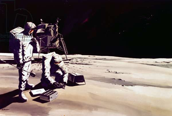 Manned Space Flight, USA, Apollo, General ArtistÕs impression of astronauts working on the Moon, 1968