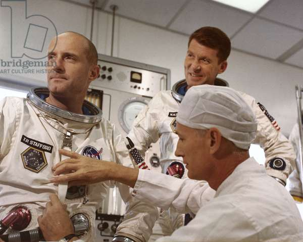 Manned Space Flight, USA, Mercury/Gemini Training Gemini 6 astronauts Thomas Stafford and Walter Schirra, 1965