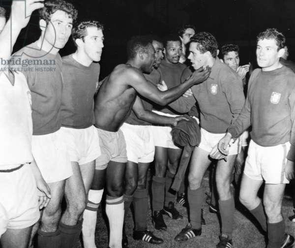 Pele congratulates a Portuguese player, World Cup, Anfield, 19 July 1966
