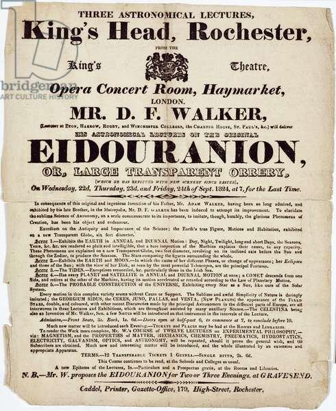 Handbill advertising Mr Walker's astronomical lectures, Rochester, 1824