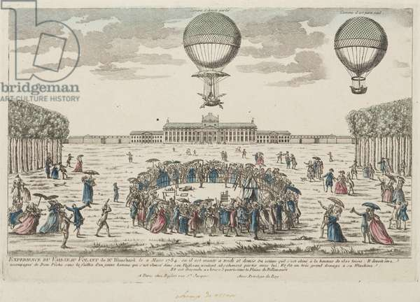 Blanchard's first ascent in a balloon, 2 March 1784