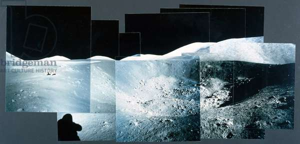 Photomontage of a large crater on the Moon, 1971-1972