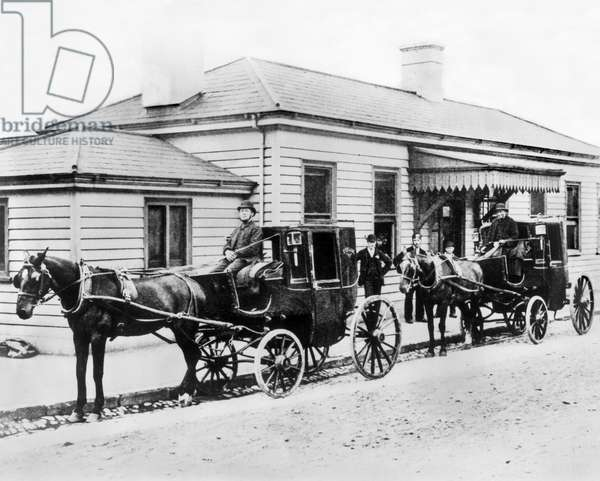 United Kingdom : Horse Cabs Outside a South Eastern Railway Station, London, 1885