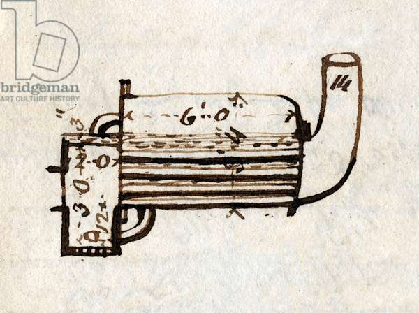 Detail of 'Rocket', side view, from Rastrick's notebook, 1829 (pen & ink on paper)