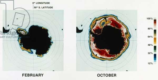 Satellites, Weather, USA Sea ice around the Antarctic, 1973