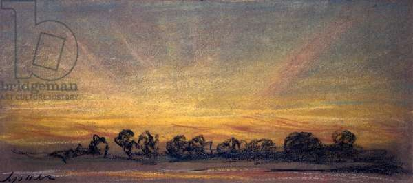 Sunset showing amber afterglow with rays, 11 September 1886