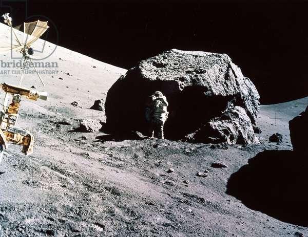 Manned Space Flight, USA, Apollo 17 Apollo 17 astronaut Harrison Schmitt collecting samples, 1972