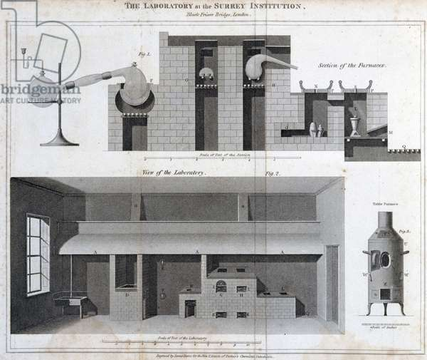 Chemical Laboratories, 1700-1849 The laboratory at the Surrey Institution, Blackfriars, London, c 1815