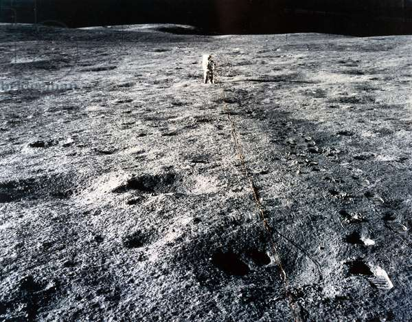 Manned Space Flight, USA, Apollo 14 Apollo 14 astronaut Edgar Mitchell on the Moon, 1971