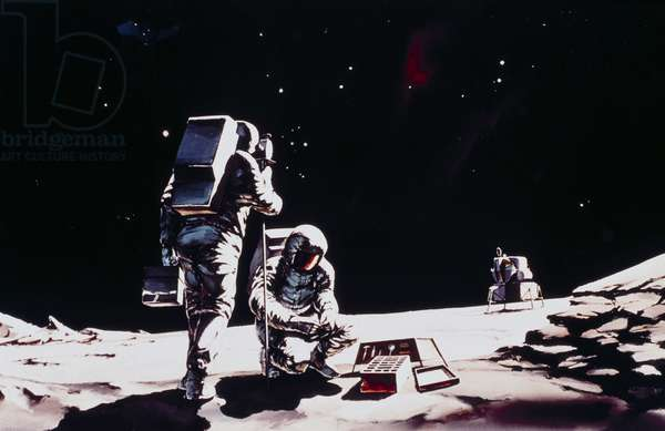 Manned Space Flight, USA, Apollo, General ArtistÕs impression of two Apollo astronauts on the Moon, 1968