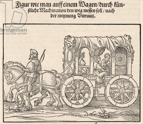 Machine for measuring the distance travelled by wagon, 1548