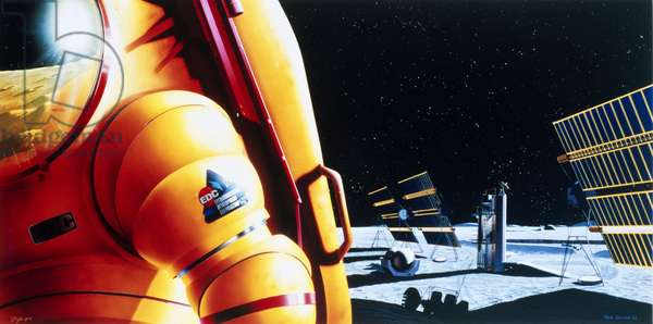 Future Concepts Drawing of future lunar outpost, 1988