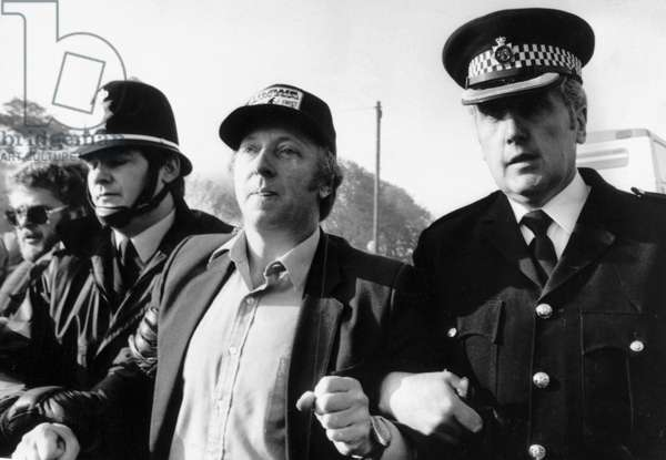 Arthur Scargill being arrested for obstruction during the miners' strike, Orgreave, England, 31 May 1984 (b/w photo)