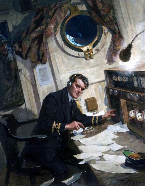 Operateur radio a bord d'un navire transmettant un message en morse par telegraphe (deuxieme guerre mondiale)
