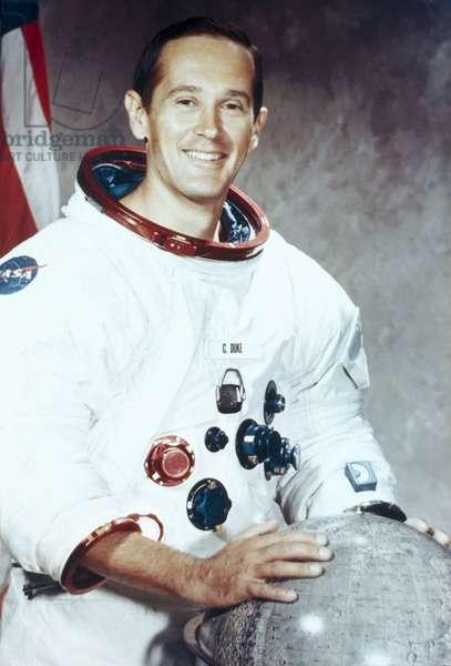 Manned Space Flight, USA, Apollo 16 Apollo 16 astronaut Charles Duke in spacesuit, 1971