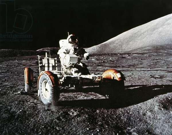Manned Space Flight, USA, Apollo 17 Apollo 17 astronaut Eugene Cernan with the Lunar Rover, 1972