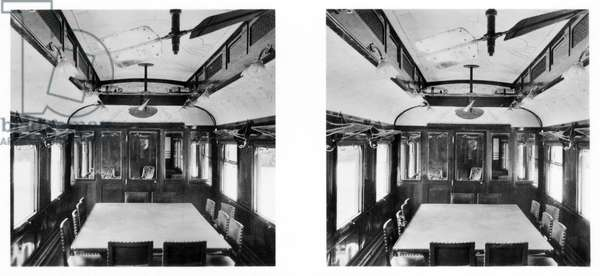 France : Interior of the railcar in which the Armistice was signed on the 11th of Nov. 1918, and in which the French surrender was signed on the 21st of June 1940