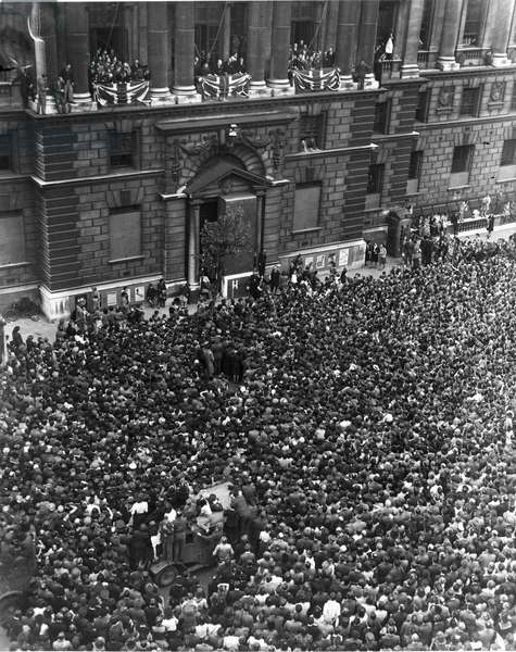 Winston Churchill speaking from a balcony, V E Day, London, 8 May 1945