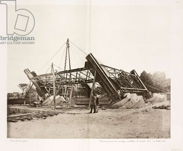 Construction de la Tour Eiffel - Building Construction & Repair Assembly of ironwork onto the piers, Eiffel Tower, Paris, 18 July 1887
