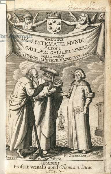 Frontispiece of 'Cosmic System' by Galileo, 1663