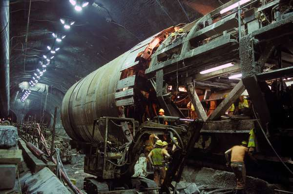 Boring machine in the Channel Tunnel, 1993 (photo)