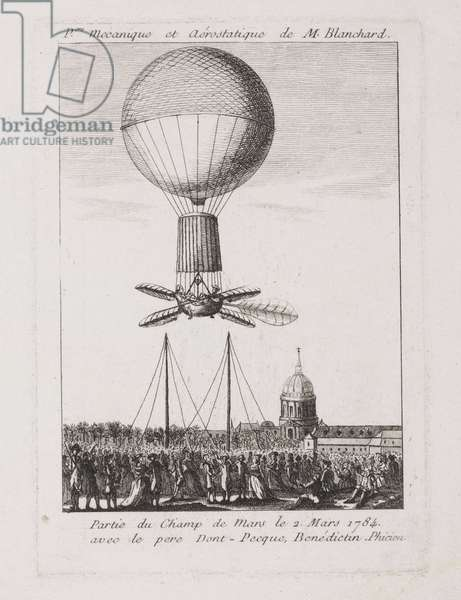 Blanchard's first balloon ascent, 2 March 1784