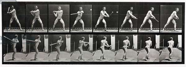 Time-lapse photographs of a man hitting a ball, 1872-1885