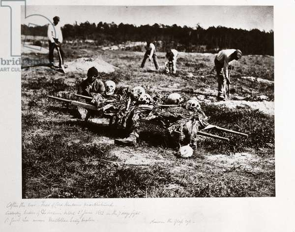 Remains of Union soldiers killed at Cold Harbour, Virginia, in June 1862, (c 1864)