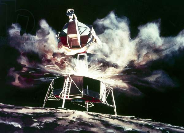 Manned Space Flight, USA, Apollo, General ArtistÕs impression of the Lunar Module blasting off from the Moon, 1968