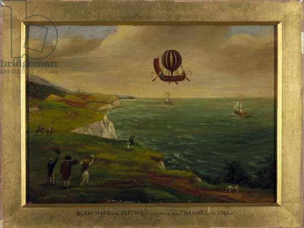 L'inventeur Jean Pierre (Jean-Pierre) Blanchard (1753-1809) et le scentifique americain John Jeffries (Jefferies ou Gefferies) (1744-1819) traversent la Manche dans une machine volante ressemblant a un bateau equipe d'un ballon de montgolfiere le 7/01/1785