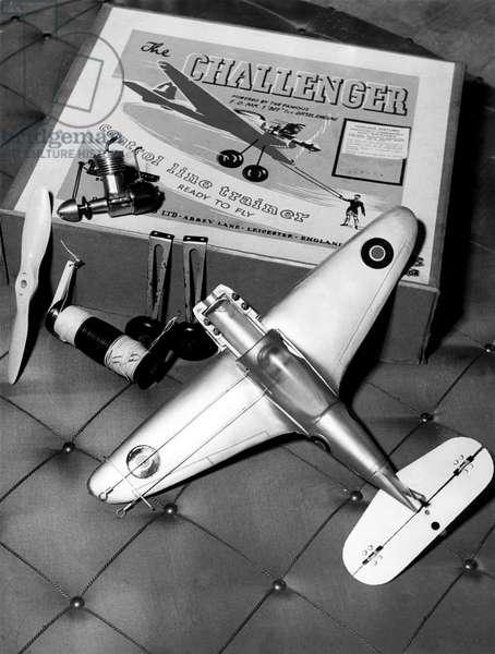 Toys, Radio-Controlled Airplane, 1952 (b/w photo)