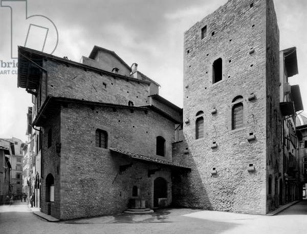 Tuscany, Florence, View of Houses of the Alighieri Family, Museo Casa Di Dante, 1900-10 (b/w photo)