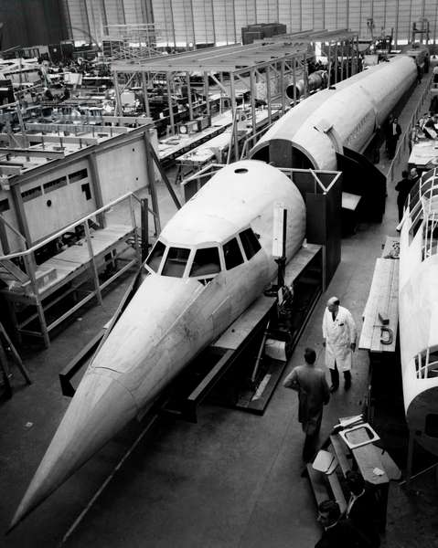 Wooden model of the concorde, 1963 (b/w photo)