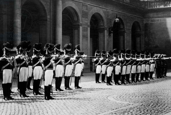 Noble papal guards in Napoleonic uniform, 1920 (b/w photo)