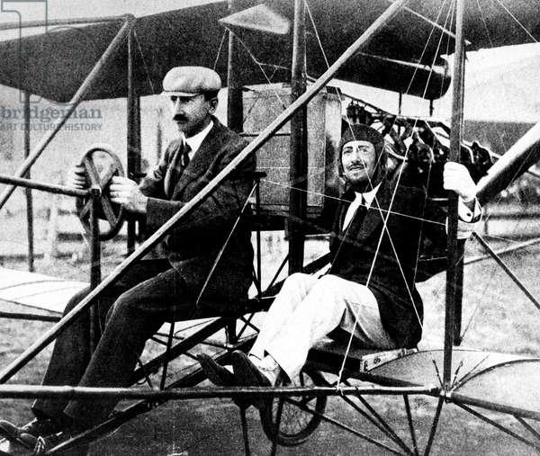 Gabriele D'Annunzio And Glenn H, Curtiss, 1909 (b/w photo)