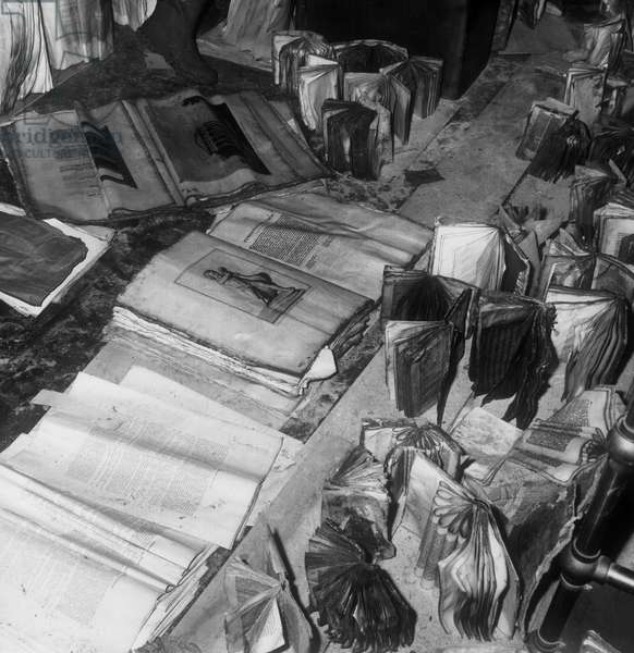 Books After the Flood 4Th November, 1966, Florence, Tuscany, Italy, 1967 (b/w photo)