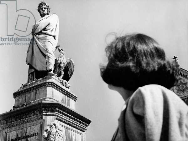 Piazza Santa Croce, Statue of Dante Alighieri, Florence, Tuscany, Italy, 1965 50 (b/w photo)