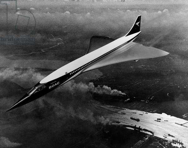 The concorde in flight, 1968 (b/w photo)
