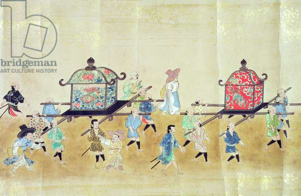 Part of the Sixth Korean Embassy to Japan at the time of Tokugawa Ietsuna's succession in 1651, possibly by Kano Masunobu (1625-94) 1655-57 (scroll painting) (see also 120822 & 120823)