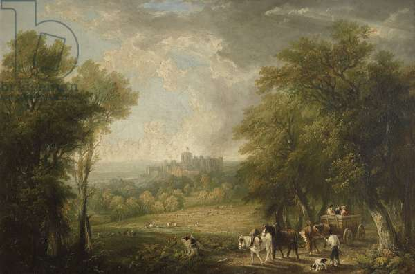 View of Windsor from the Forest with Travellers in a Horse-drawn Cart