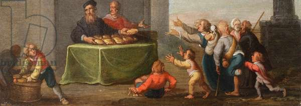 The Chirk Cabinet: the Seven Acts of Mercy: to feed the hungry