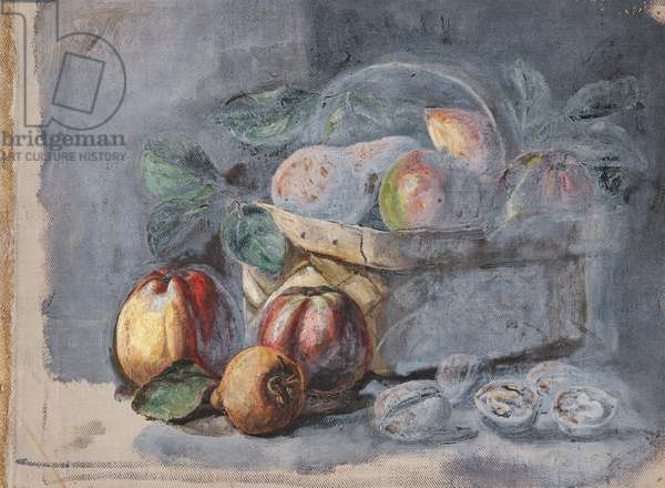 Still Life of Pears, Apples and a Basket (from a Portfolio of oil sketches), c.1913 (oil on millboard)