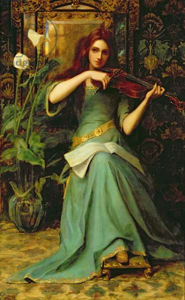 Girl with a Violin (oil on canvas)