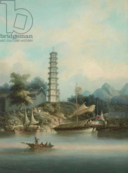 Chinese Scene with Pagoda and Boats