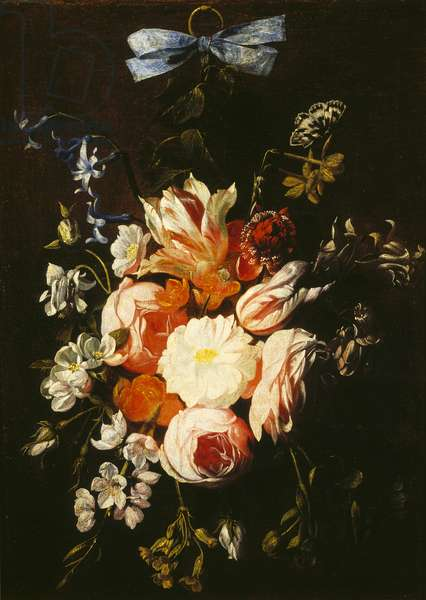 Flowers hanging by a ribbon (oil on canvas)