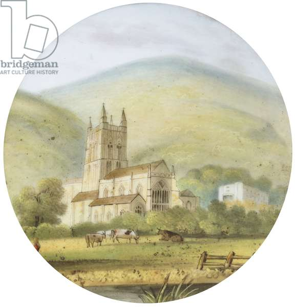 Great Malvern Priory with Cows and Stream in  the foreground