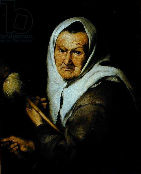 An Old Woman holding a Distaff and a Spindle, c.1650-60 (oil on canvas)