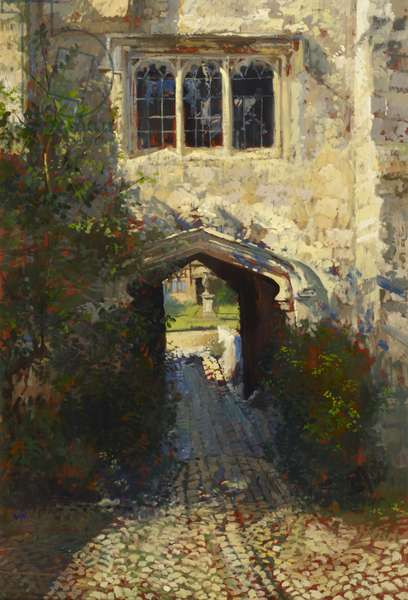 View of the Archway of the West Tower at Ightham Mote looking towards the West Lawn (oil on canvas)