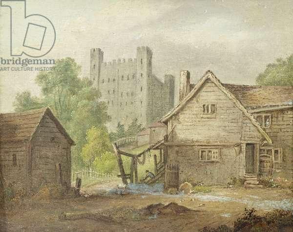 Rochester Castle from a Farmyard